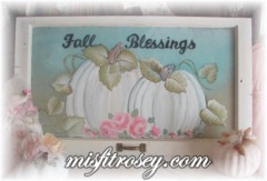 Sweet Vintage Shabby Fall Pumpkin Window