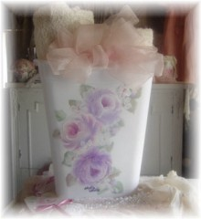 Hand Painted Cottage Rose Lavender  Waste Basket