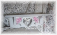 Shabby  Romantic Chic Rose Shelf w/Two Pegs