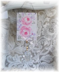 Hand Painted Shabby Rose Window Charm Peg Hanger