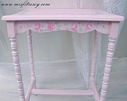 Hand Painted, Shabbiest Chic Rose Cottage Table