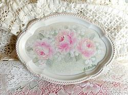 Hand Painted Cottage Rose Tray