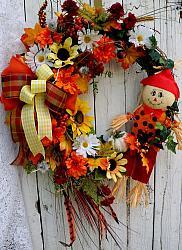 Fall Scarecrow pumpkin Wreath