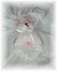 Shabby Faded Rose and Chenille,  Lavender Dress Sachet-SOLD-