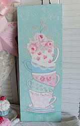 Shabby Sweet Hand Painted Stacked Teacups