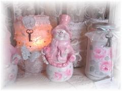 Cottage Pink Snowman Decoration SOLD