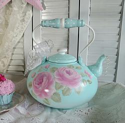Hand Painted Cottage Pink Berry Rose  Polka Dot Teapot