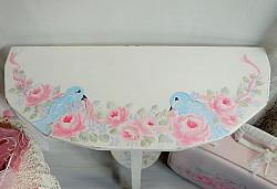 Charming  Vintage Hand Painted Shabby Rose Cottage  Side Table
