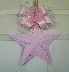 So Pretty Hand Painted Shabby Chic Pink Rose Star and Bow