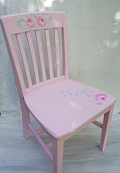 Shabby Chic Pink Hand Painted Rose Cottage Chair