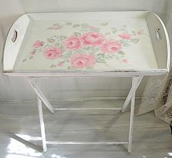 Romantic Country  Rose Hand Painted Wood Tray with Stand