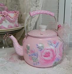 Shabby Chic Pink Hand Painted Teapot