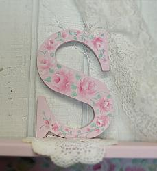 Hand Painted  8 inch Shabby Chic Cottage Rose Letter S (for Sam)