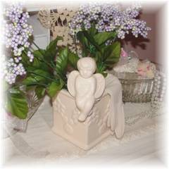 Sweet Shabby Cottage Cherub Planter