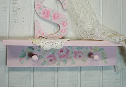 Shabby Pink  Wood Rose Cottage Shelf w/ Two Pegs