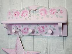 Pretty Pink Hand Painted Rose Shelf