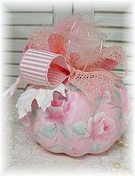 Hand Painted Pink Shabby n Chic Fall Thanksgiving Rose Pumpkin