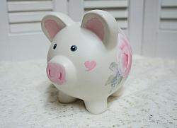 Cute Hand Painted Rose Piggy Bank