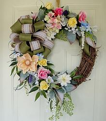 Beautiful Spring Summer Cottage Grapevine Wreath