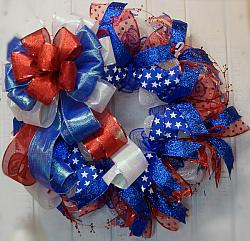 Patriotic Bright Red White and Blue Wreath