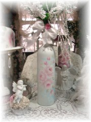 Shabby Romantic Rose Cottage Bottle