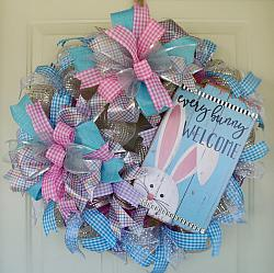 Sweet Cottage Easter Wreath With Bunny Sign