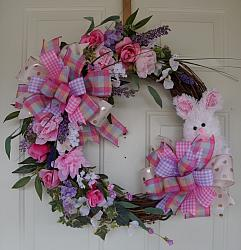 Spring Easter Rabbit Grapevine Wreath