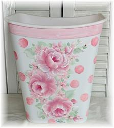 Cottage Charm Hand Painted Rose Waste Basket