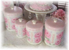 Gorgeous Vintage Rose Cottage Canister Set
