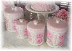 Gorgeous Vintage Rose Cottage Canister Set
