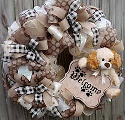 Puppy Dog  Welcome Door Wreath