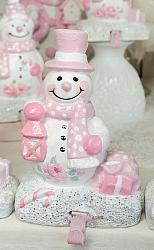 Pink Snowman Hook Stocking Holder