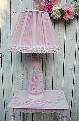 Vintage Hand Painted Rose Cottage Lamp