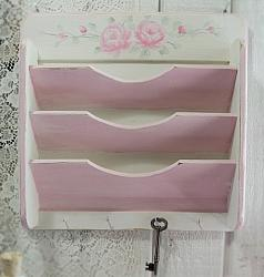 Hand Painted Pink Rose Letter Organizer Key Holder