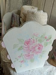 Beautiful Hand Painted Rose Cottage Magazine Rack, Storage Rack- FREE SHIPPING-