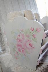 Beautiful Hand Painted Rose Cottage Magazine Rack, Storage Rack
