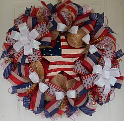 Big and Beautiful Rustic Patriotic Americanc Wreath