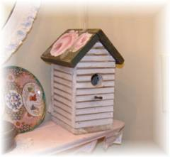 Shabby Old Cottage Chic Worn White Birdhouse Hand Painted Roses