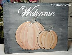 Fun Hand Painted Fall Pumpkin Welcome sign