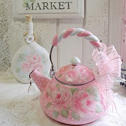 Chic Hand Painted  Pink Rose Tea Kettle