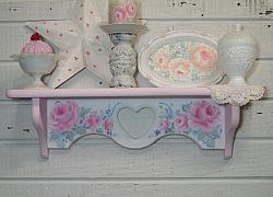 Romantic Shabby Rose Cottage Wall Shelf