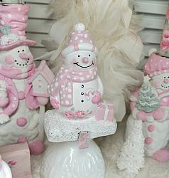 Cottage Pink, Sweet Snowman Stocking Holder