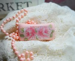 Pink Hand Painted Rose Soap