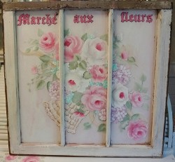 "Beautiful Hand Painted French Farmhouse ""Flower Market"" Vintage Window"