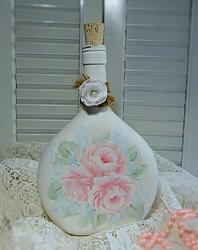 Hand Painted Shabby Cottage Rose Bottle