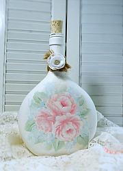 Hand Painted Shabby Cottage Rose Bottle
