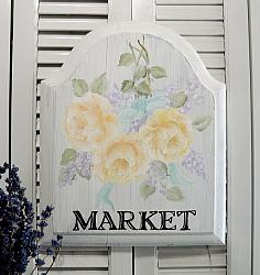 "Sweet Hand Painted Yellow Rose ""Market"" Sign"