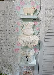 Hand Painted Three Tier Wood Heart Shelf with Peg