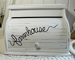Shabby White Wood Farmhouse Bread Box