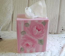 Hand Painted  Pink Rose Tissue Box cover